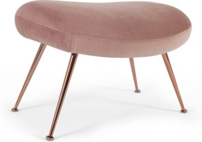 An Image of Moby Footstool, Vintage Pink Velvet