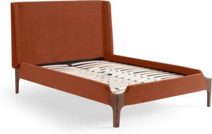 An Image of Roscoe King Size Bed, Nutmeg Orange Velvet & Dark Stain Oak Legs