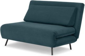 An Image of Kahlo Double Seat Sofa Bed, Teal Corduroy Velvet