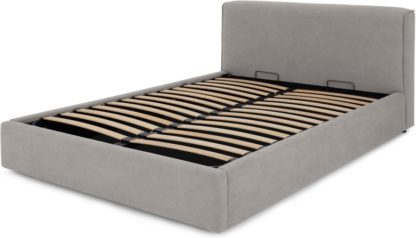 An Image of Bahra King Size Bed with Ottoman Storage, Washed Grey Cotton