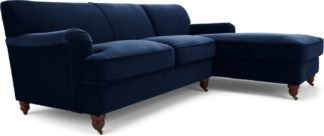 An Image of Orson Right Hand Facing Chaise End Corner Sofa, Ink Blue Velvet
