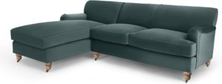 An Image of Orson Left Hand Facing Chaise End Corner Sofa, Marine Green Velvet