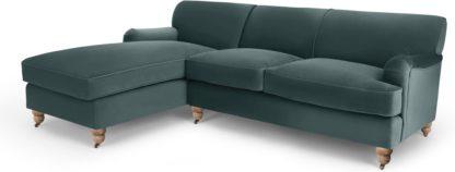 An Image of Orson Left Hand Facing Chaise End Corner Sofa, Marine Green Velvet