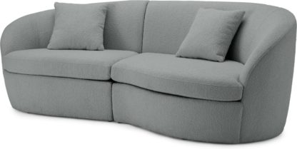 An Image of Reisa 3 Seater Sofa, Steel Boucle