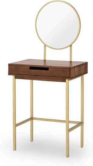 An Image of Tayma Dressing Table, Acacia Wood & Brass