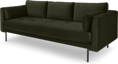 An Image of Harlow 3 Seater Sofa, Dark Olive Velvet