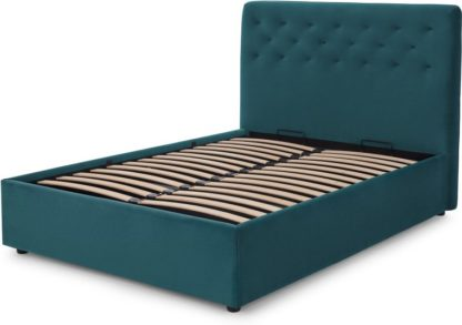 An Image of Jocelyn King Size Ottoman Storage Bed, Seafoam Blue Recycled Velvet