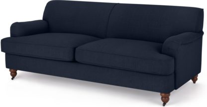 An Image of Orson 3 Seater Sofa, Dark Blue Weave