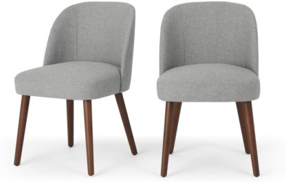 An Image of Set of 2 Swinton Dining Chairs, Mountain Grey & Dark Stain