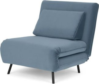 An Image of Kahlo Single Seat Sofa Bed, Arctic Blue Velvet