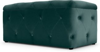 An Image of Hampton Rectangle Storage Pouffe, Seafoam Blue Velvet