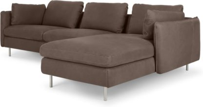 An Image of Vento 3 Seater Right Hand Facing Chaise End Sofa, Texas Charcoal Grey Leather