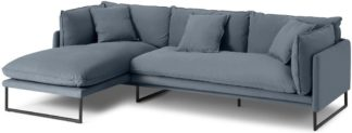 An Image of Malini Left Hand Facing Chaise End Sofa, Jeans Blue Cotton & Linen Mix