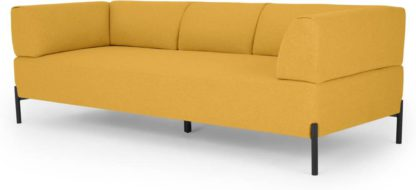 An Image of MADE Essentials Kiva 3 Seater Sofa, Yolk Yellow