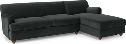 An Image of Orson Right Hand Facing Chaise End Sofa Bed, Velvet Midnight Grey
