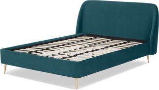 An Image of Trudy King Size Bed, Seafoam Blue Velvet & Brass Legs