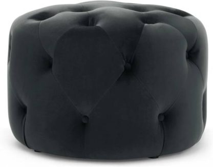An Image of Hampton Small Round Pouffe, Velvet Midnight Grey