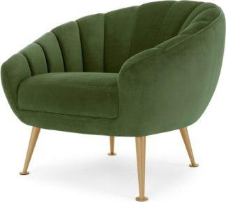 An Image of Primrose Accent Armchair, Meadow Green Velvet