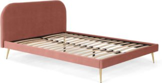 An Image of Eulia Double Bed, Blush Pink Velvet & Brass Legs