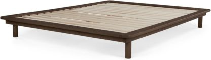 An Image of Kano Double Platform Bed, Walnut Stain Pine