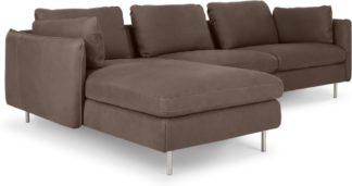 An Image of Vento 3 Seater Left Hand Facing Chaise End Sofa, Texas Charcoal Grey Leather