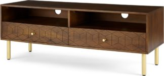An Image of Hedra TV Stand, Mango wood and Brass