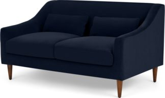 An Image of Herton 2 Seater Sofa, Ink Blue Velvet