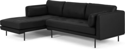An Image of Harlow Left Hand Facing Chaise End Corner Sofa, Denver Black Leather