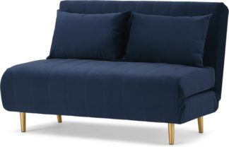 An Image of Bessie Small Sofa Bed, Royal Blue Velvet