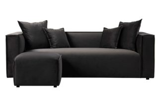 An Image of Max Three Seat Corner Sofa - Carbon