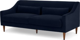 An Image of Herton 3 Seater Sofa, Ink Blue Velvet