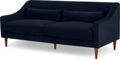 An Image of Herton 3 Seater Sofa, Ink Blue Velvet
