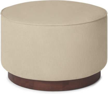 An Image of Hetherington Large Wooden Pouffe, Stone Corduroy Velvet with Dark Stain Wood