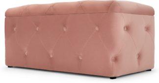 An Image of Hampton Rectangle Storage Pouffe, Blush Pink Velvet