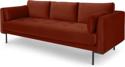 An Image of Harlow 3 Seater Sofa, Brick Red Velvet