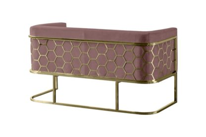An Image of Alveare Two Seat Sofa - Brass - Blush Pink