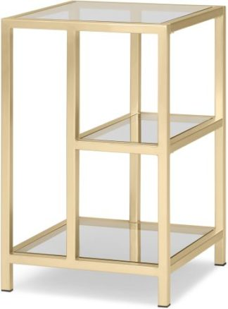 An Image of Connelly Side Table, Brass & Smoked Glass