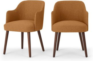 An Image of Set of 2 Swinton Carver Dining Chairs, Orleans Marmalade Orange & Dark Stain