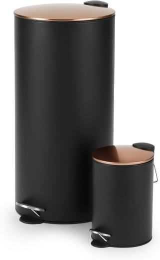 An Image of Cross Flat Top 27L & 3L Pedal Bin, Black & Copper