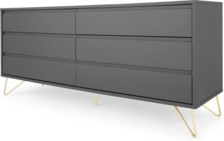 An Image of Elona Wide Chest Of Drawers, Charcoal and Brass