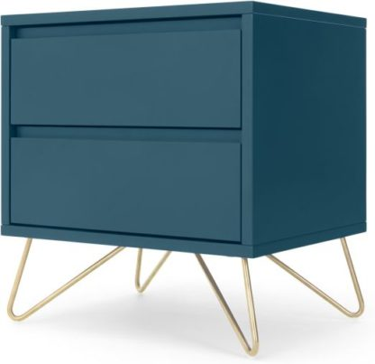 An Image of Elona Bedside Table, Teal and Brass