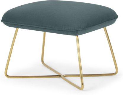 An Image of Stanley Footstool, Marine Green Velvet