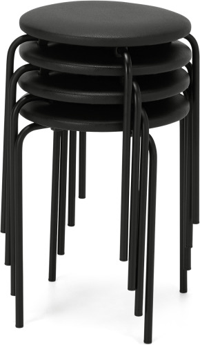 An Image of MADE Essentials Set of 4 Luno stacking stools, Black PU