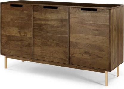 An Image of Tayma 3 Door Sideboard, Acacia Wood & Brass