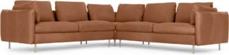 An Image of Vento 5 Seater Corner Sofa, Texas Tan Leather