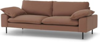 An Image of Fallyn 3 Seater Sofa, Nubuck Brown Leather