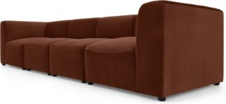 An Image of Juno 4 Seater Modular Sofa, Warm Caramel Velvet