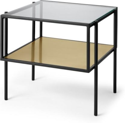 An Image of Cheney Side Table, Glass & Brass