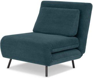 An Image of Kahlo Single Seat Sofa Bed, Teal Corduroy Velvet