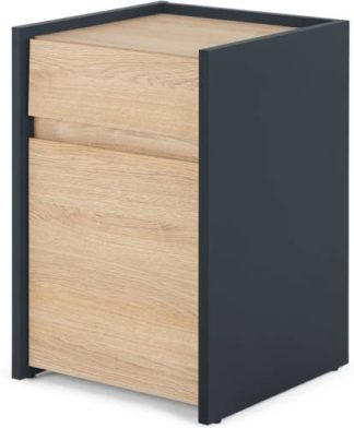 An Image of MADE Essentials Stu Narrow Bedside Table, Oak Effect & Ocean Blue
